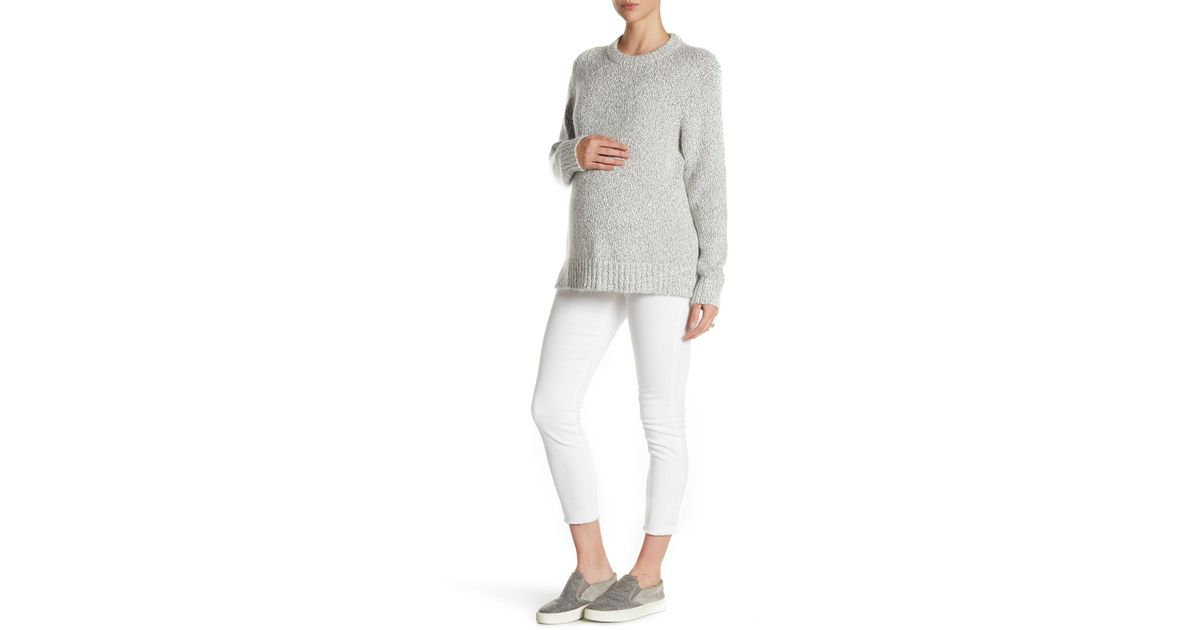 Seven7 Maternity bianco white denim raw edge ankle skinny jean pant NEW $89