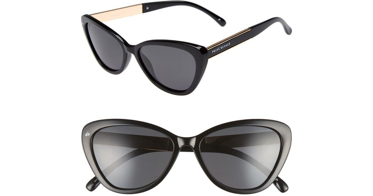 f7390b07c9026 Lyst - Privé Revaux The Hepburn 56mm Cat Eye Sunglasses in Black