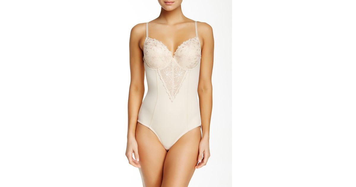 0af119f6f9 Lyst - Joan Vass Molded Cup Bodysuit (plus Size Available) in Natural