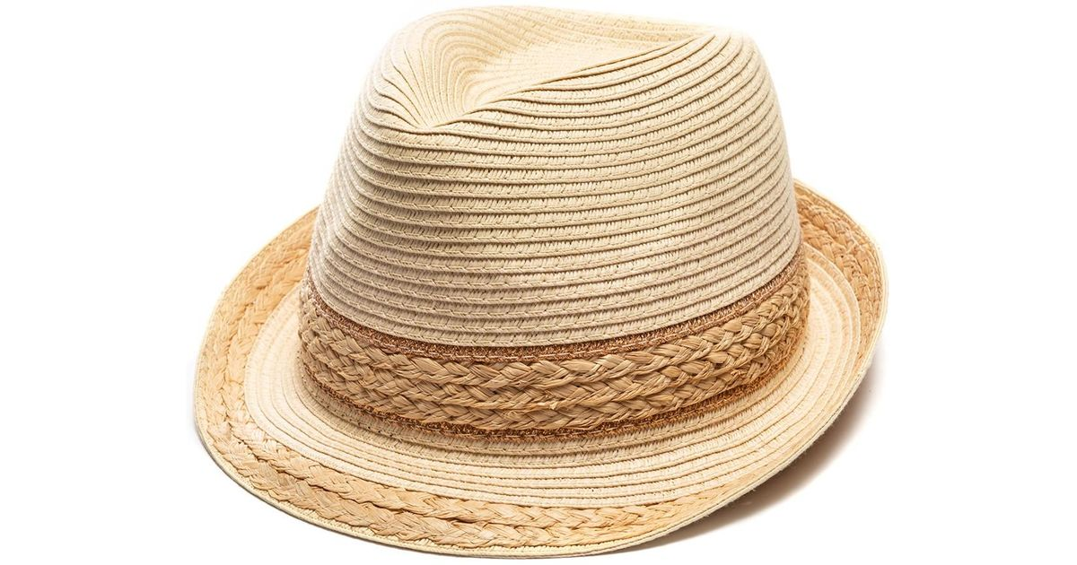 196b0e9ee Vince Camuto - Natural Mixed Braid Fedora - Lyst