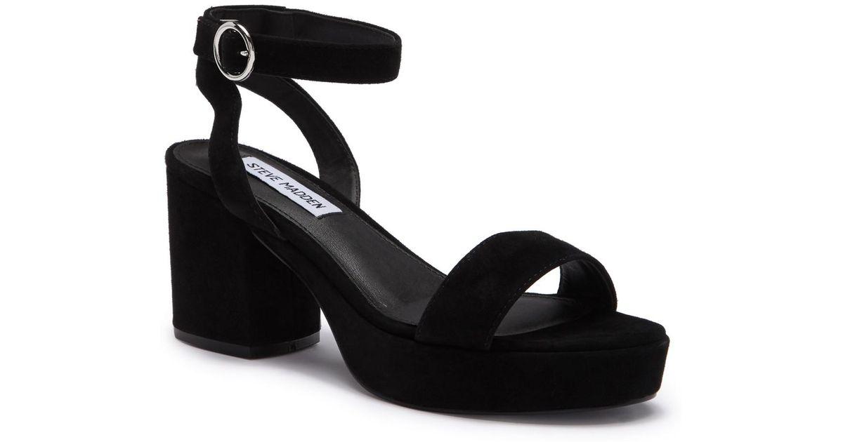 Steve Eris Block Sandal Madden Heel Black cTlKF1J
