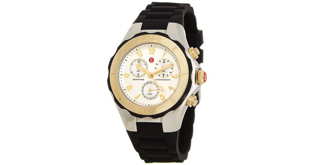9064d41a8 Michele Women's Tahitian Jelly Bean Two Tone Watch, 40mm in Metallic - Lyst