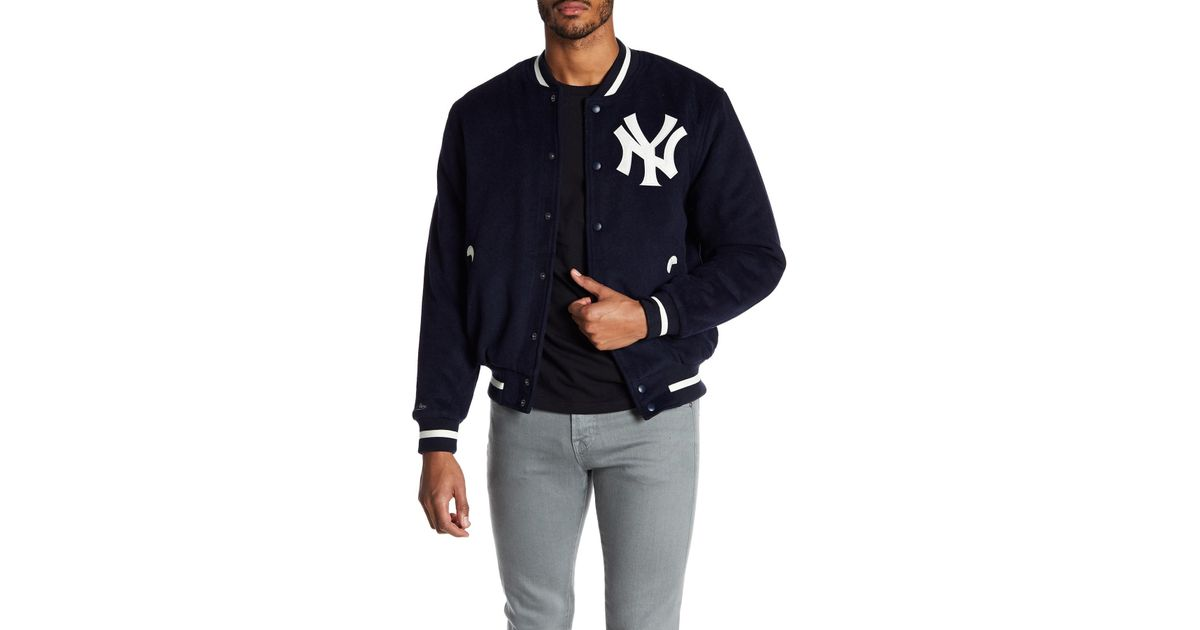 quality design 810ec a4d22 Mitchell & Ness Blue Yankees Wool Blend Varsity Jacket for men