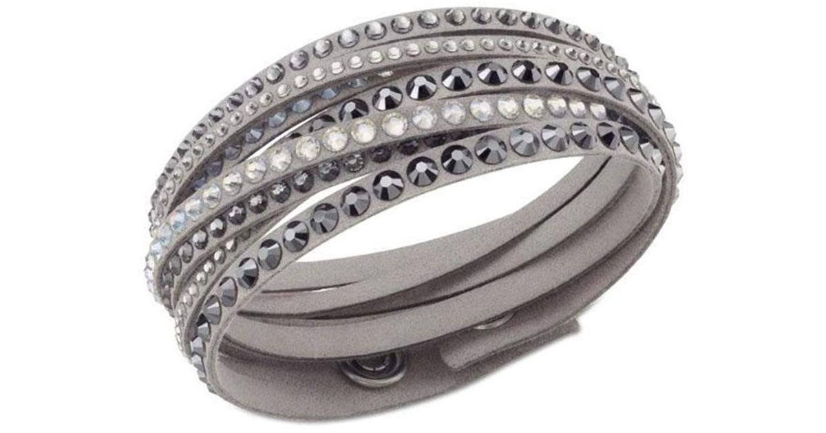*REDUCED* Double Wrap Gray Bracelet Goldtone Chainlinks /& Gray Colored Stones