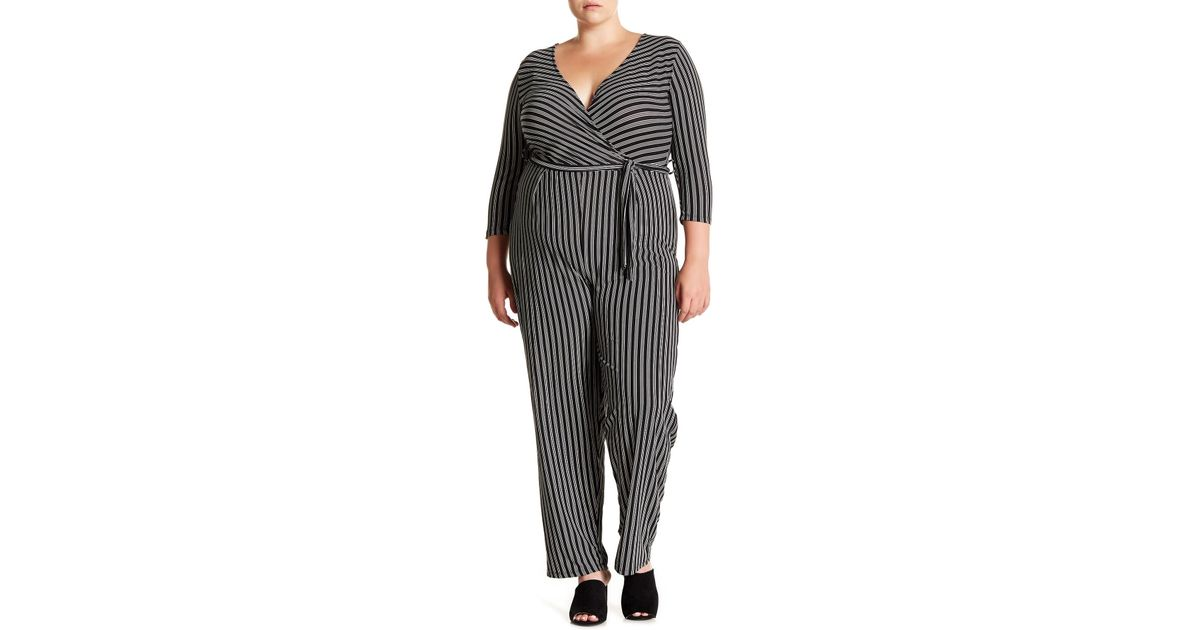 003ce4613a4 Lyst - Derek Heart Striped Tie Waist Jumpsuit (plus Size) in Black