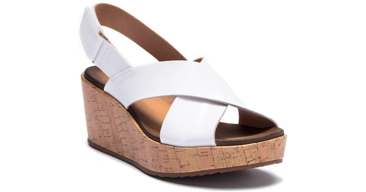 e5ec8848b865 Lyst - Clarks Stasha Hale Leather Wedge Sandal - Wide Width Available in  White
