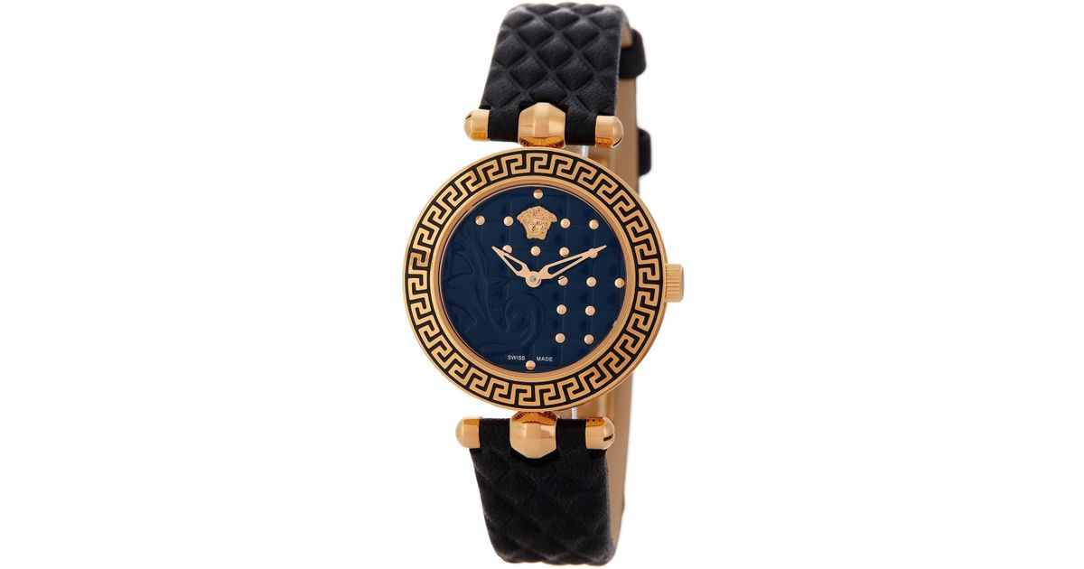 17ba7af2 Versace Metallic Women's Micro Vanitas Leather Strap Watch