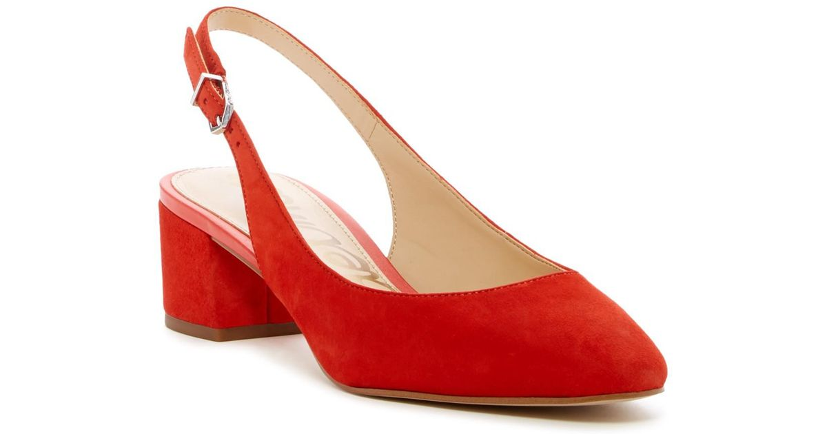 25cc6c95285 Sam Edelman Lorene Suede Slingback Pump in Orange - Lyst