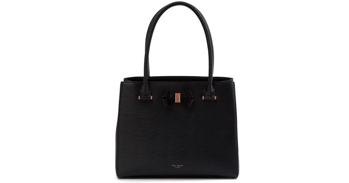 17a9bafeb Lyst - Ted Baker Calla Bow Shopper Tote Bag in Black