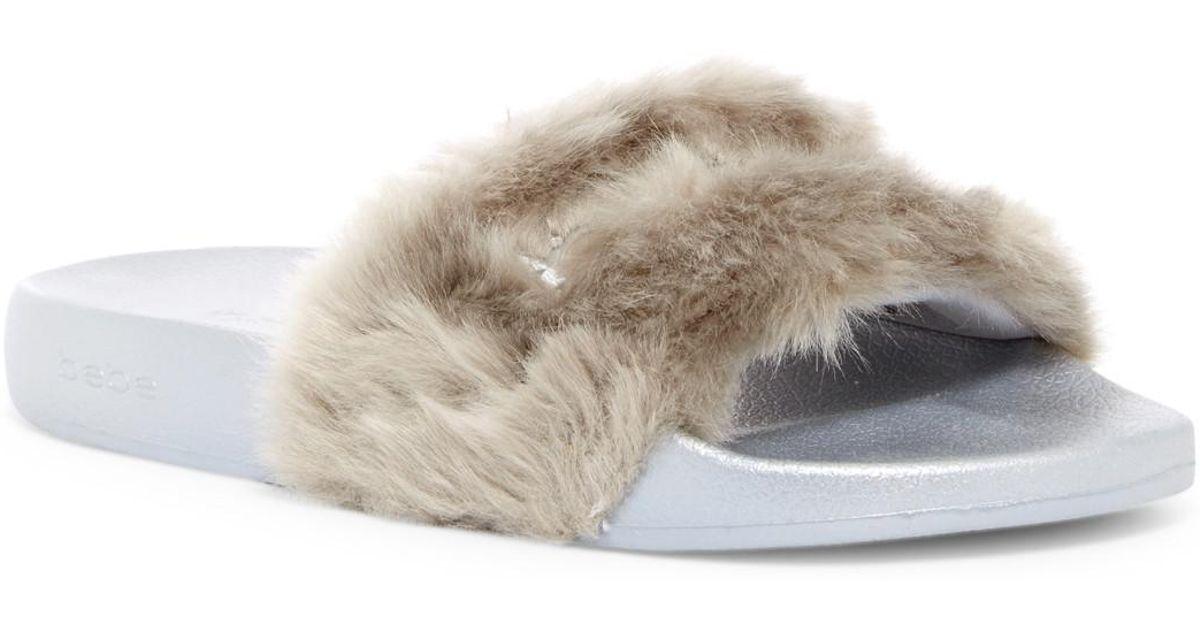 7d2858bdde28 Lyst - Bebe Furiosa Faux Fur Slide Sandal in Gray