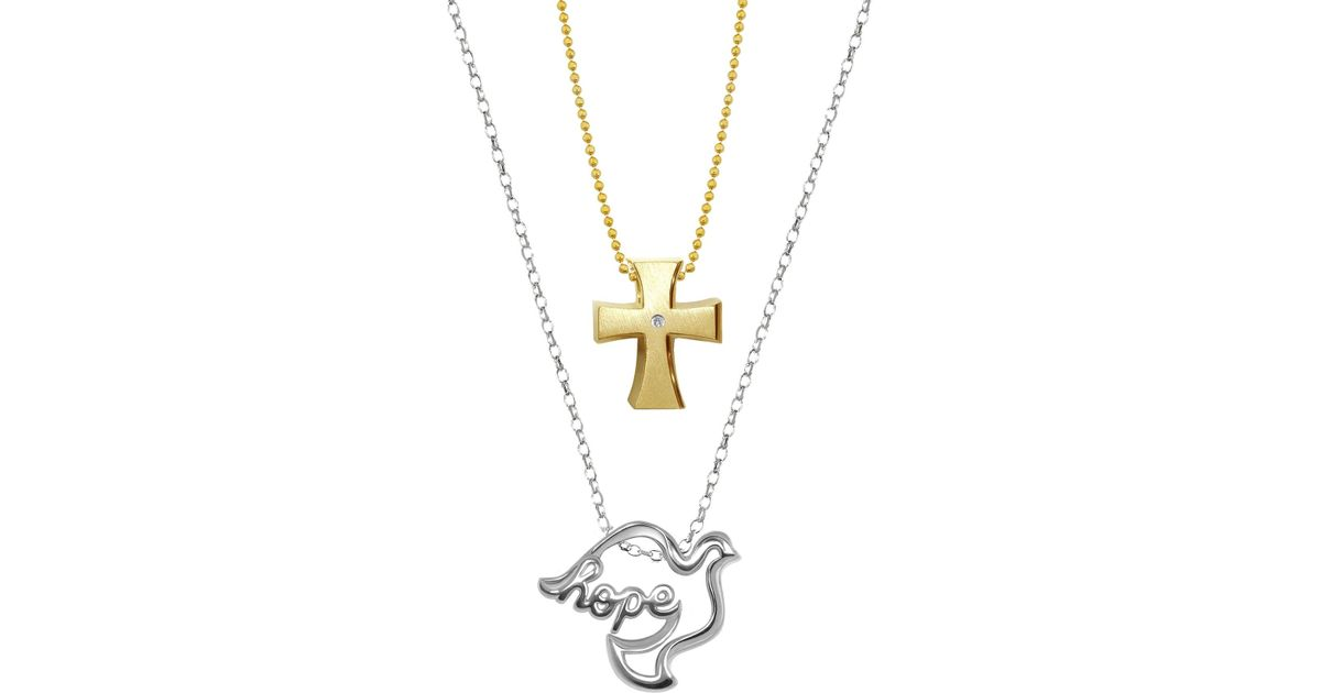 Lyst alex woo little faith sterling silver hope dove pendant 14k lyst alex woo little faith sterling silver hope dove pendant 14k yellow gold diamond detail cross pendant 2 piece necklace set 001 ctw in metallic aloadofball Choice Image