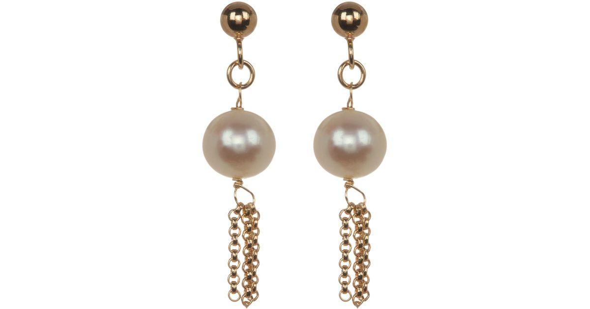 34057a14fcb Lyst - Liberty 18k Gold Plated 7mm Freshwater Pearl   Tassel Drop Earrings  in Metallic