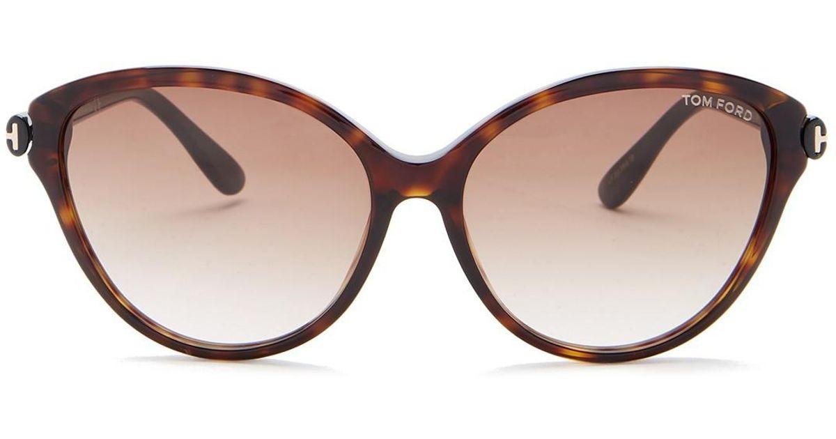 b2229472812e Lyst - Tom Ford Women s Plastic Cat Eye Sunglasses in Brown
