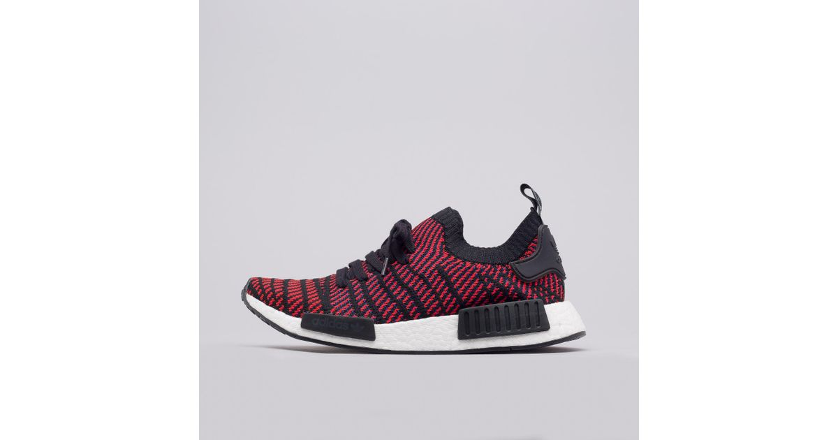 Adidas Rubber Nmd R1 Primeknit Stlt In Core Black Red Blue For Men