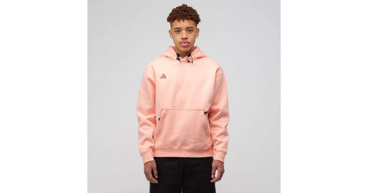 buy popular 3fedd 0704b Nike Acg Pullover Hoodie In Bleached Coral in Pink for Men - Lyst