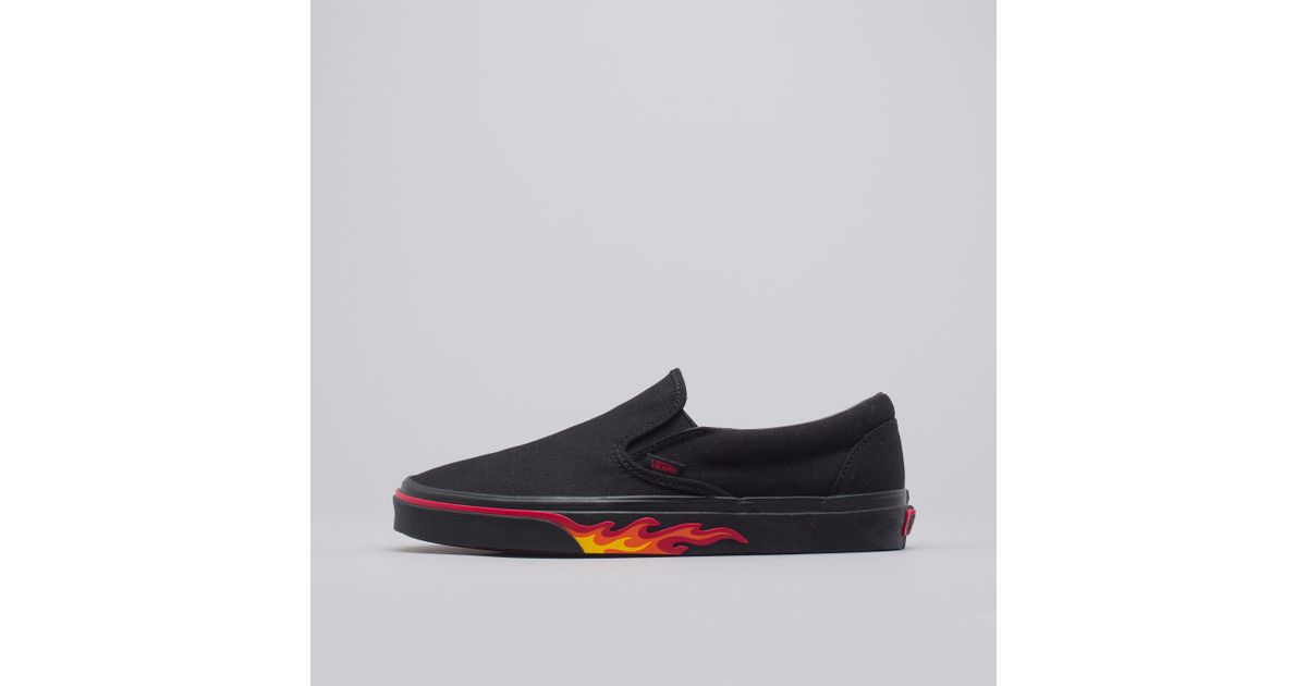 6b4b4afb527 Lyst - Vans Classic Slip-on Flame Wall In Black in Black for Men