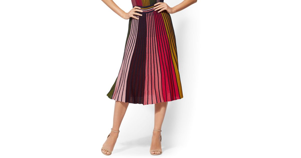 ac19044fa1 New York & Company 7th Avenue - Multicolor Stripe Pleated Sweater Skirt in  Red - Lyst