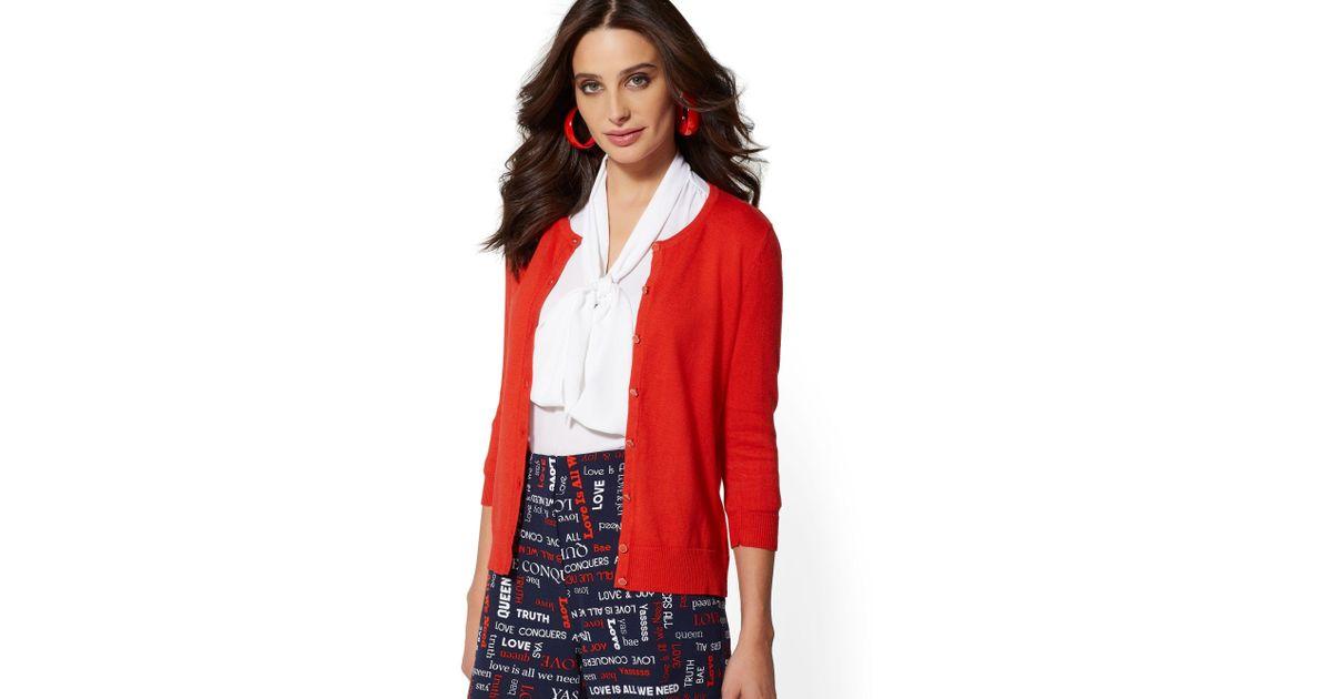 f8aea654062 Lyst - New York   Company 7th Avenue - Enamel-button Chelsea Crewneck  Cardigan in Red
