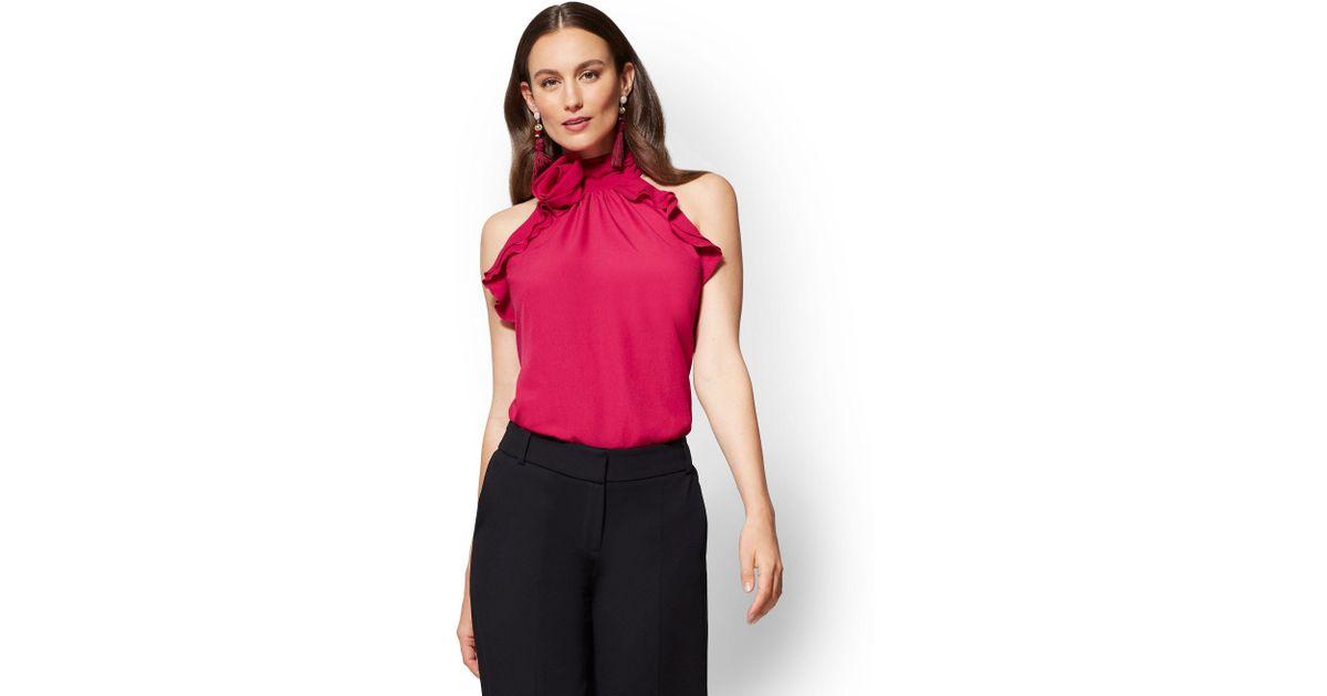 e83543a5b3053 Lyst - New York   Company 7th Avenue - Rosette Halter Top - Fuchsia in Red
