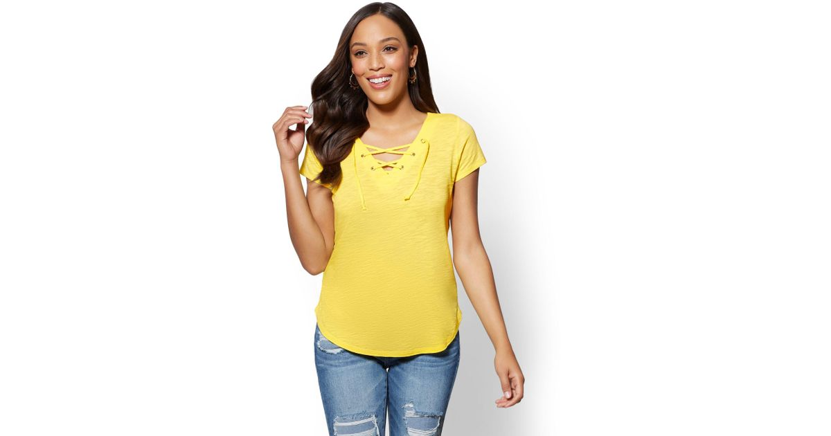 82d3940cd585e0 Lyst - New York   Company Lace-up V-neck T-shirt in Yellow