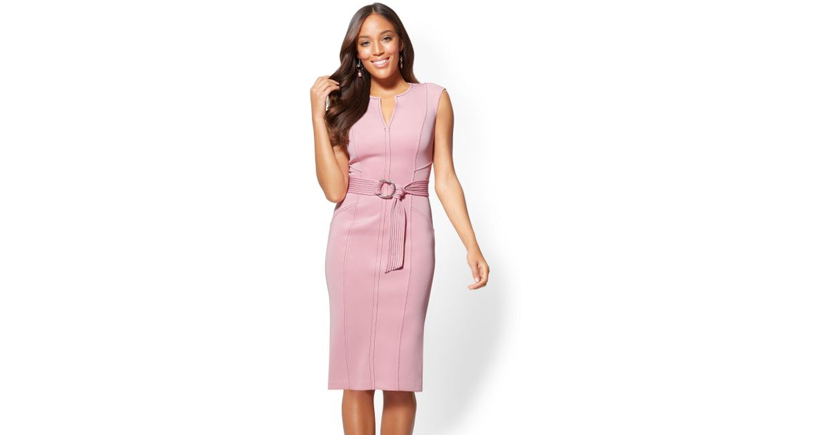 Lyst - New York & Company 7th Avenue - Topstitched Sheath Dress in Pink