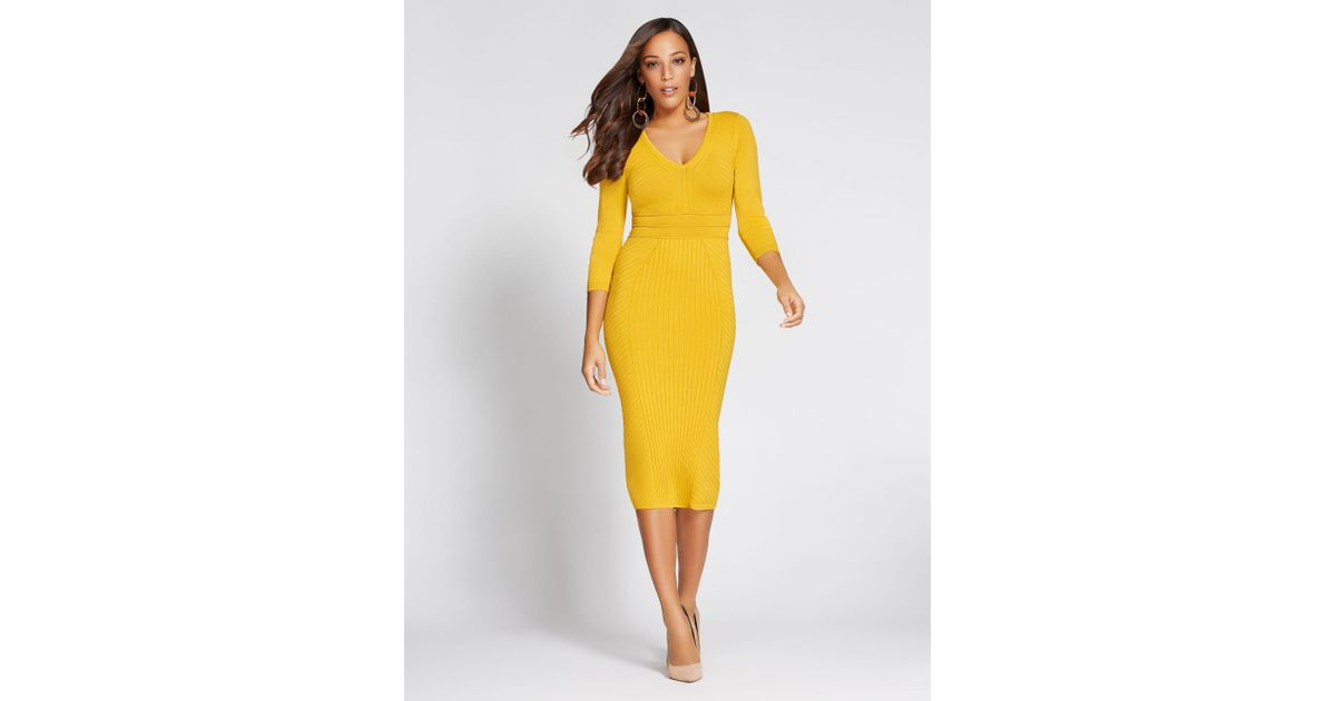 cb986731aeb Lyst - New York   Company Gabrielle Union Collection - V-neck Sweater Dress  in Yellow