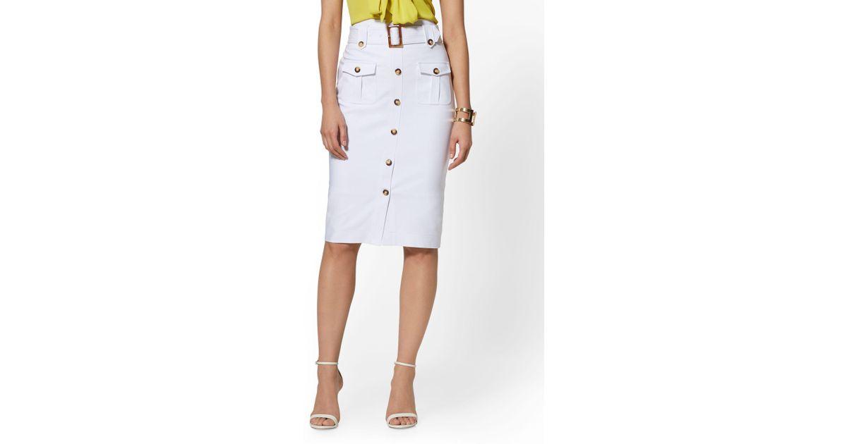 6583866fa7e3 Lyst - New York & Company 7th Avenue - White Button-front Pencil Skirt in  White