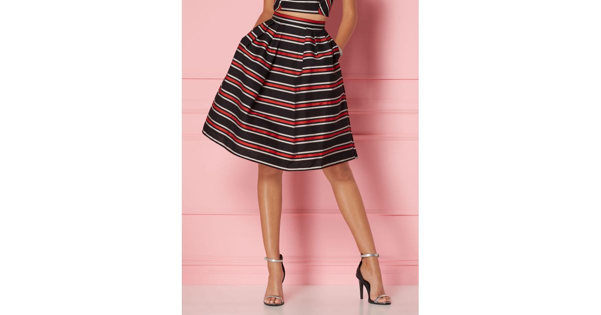 f9a532ac1364e Lyst - New York   Company Stripe Maddie Skirt - Eva Mendes Party Collection  in Black