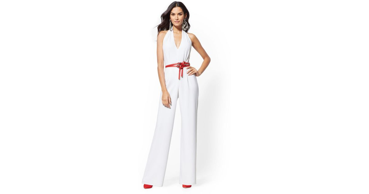 Lyst New York Company Ivory Halter Jumpsuit In White