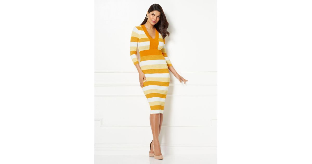 24d01d230a5 Lyst - New York   Company Eva Mendes Collection - Francisca Stripe Sweater  Dress in Yellow