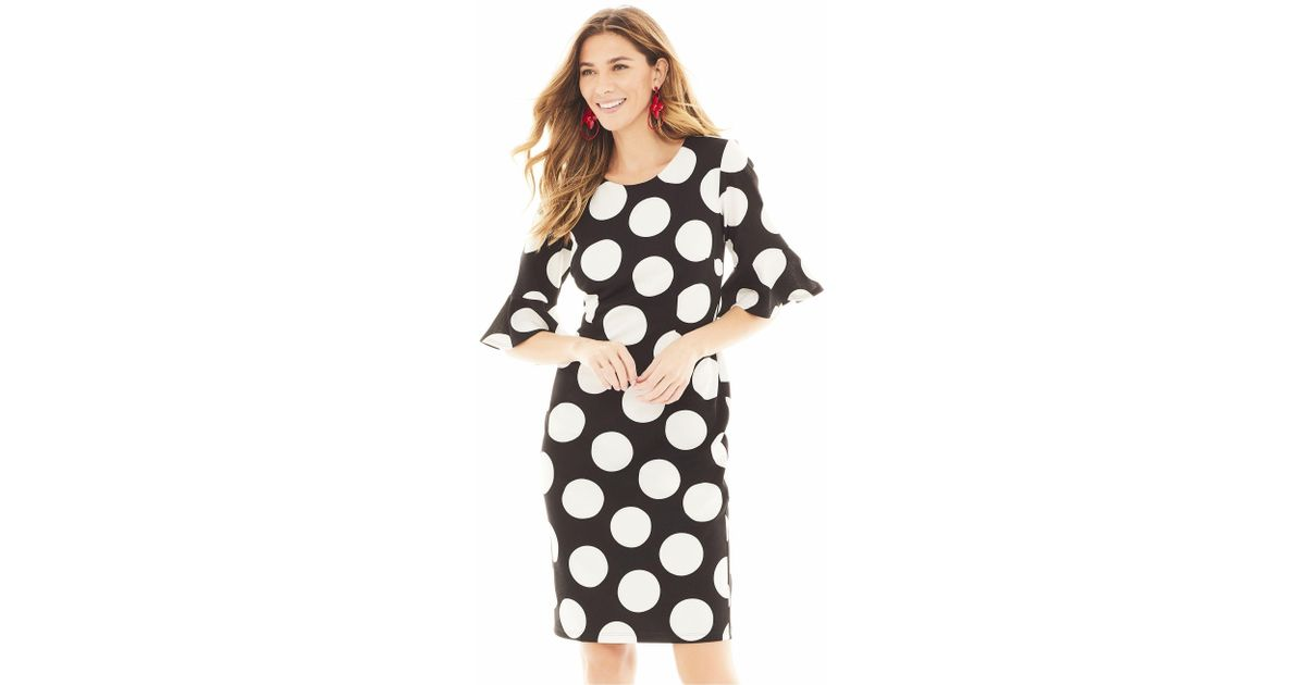 34b1a4ca Lyst - New York & Company Black Dot-print Sheath Dress - Magic Crepe - 7th  Avenue in Black