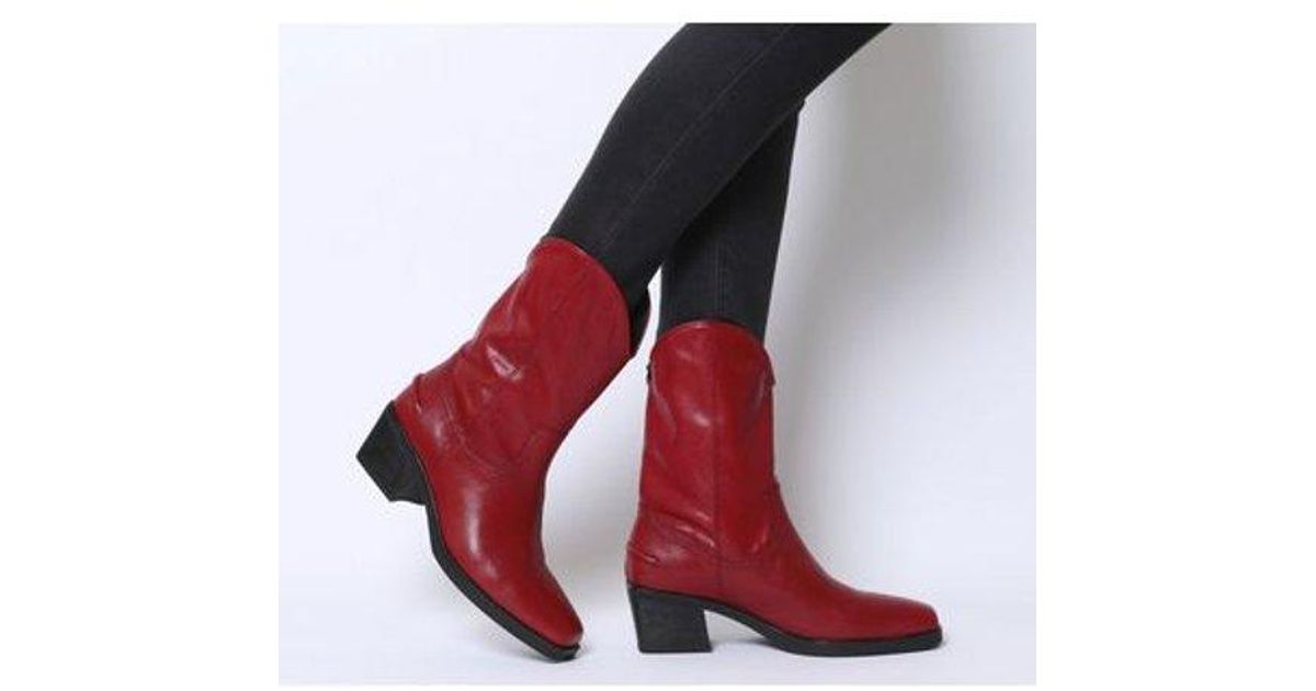 4f43f10dc2c Vagabond Simone Red Leather Cowboy Boots - Womens Uk 5