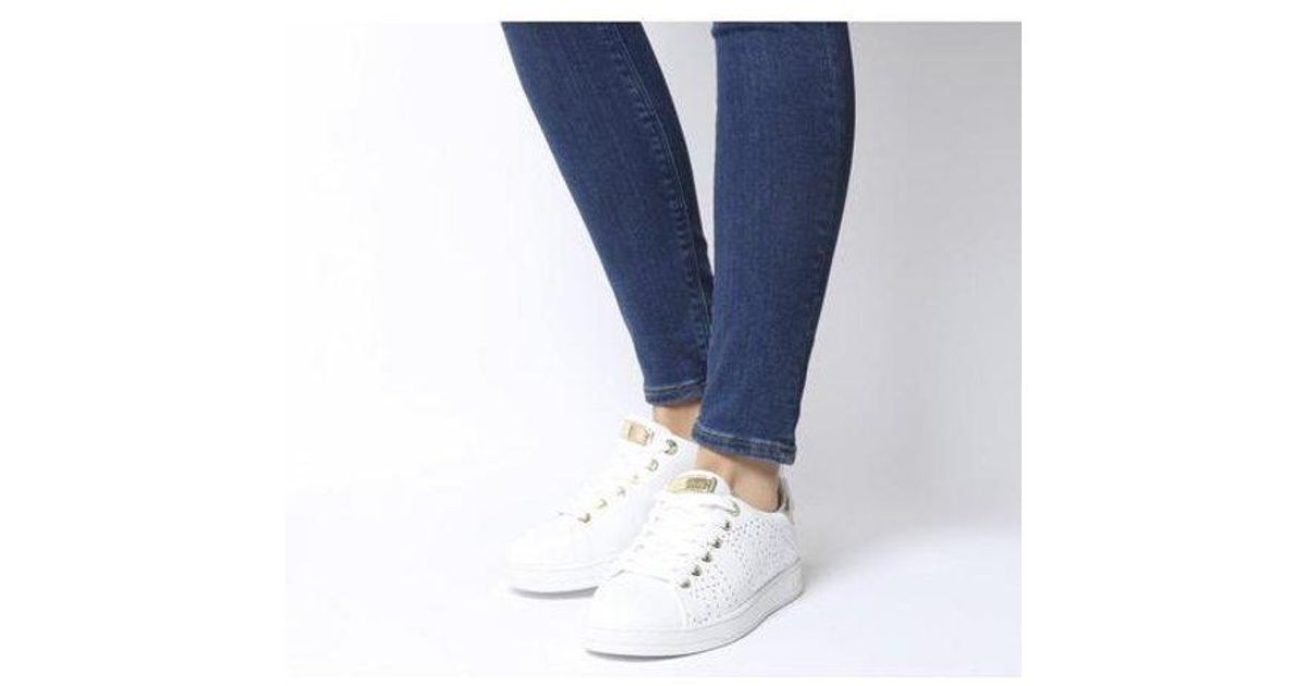 Womens Guess Carterr Logo Stud Sneakers White Leather Gold Stud Flats