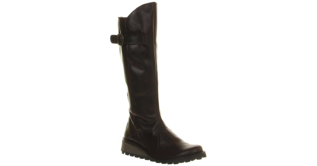 e1a77fb810095 Fly London Brown Mol Low Wedge Buckle Boots