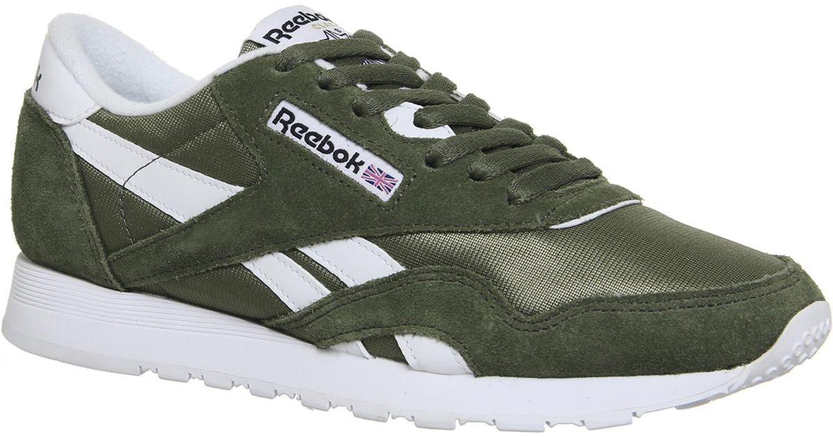 36fe66182104a Lyst - Reebok Cl Nylon Trainers in Green
