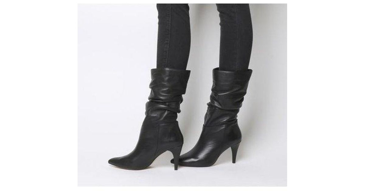 Womens Office Koffee Pointed Calf Boots Black Leather Boots