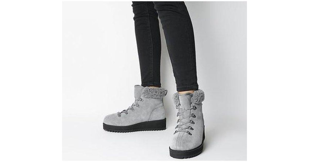 UGG Birch Lace Up Shearling in Black - Lyst