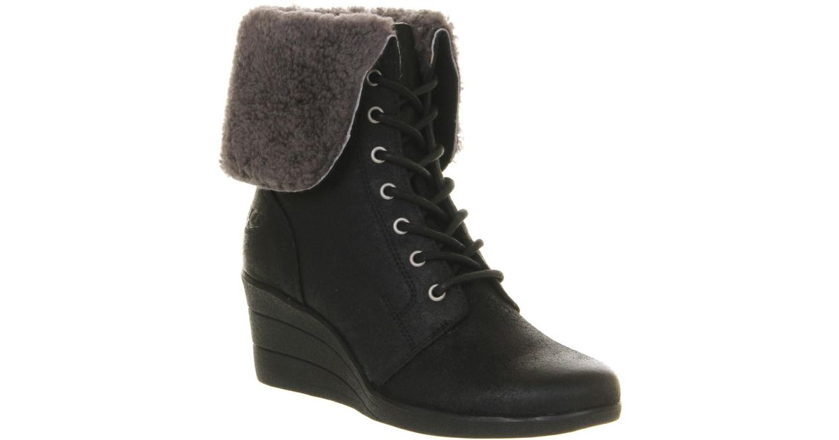 d17bd495484 Ugg Black Zea Shearling Wedge Lace Up Boots