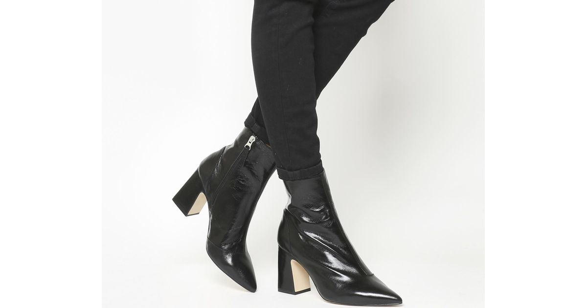Office Leather Alto Pointed Block Heels