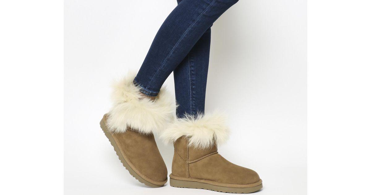UGG Milla Fur Cuff Boots in Chestnut
