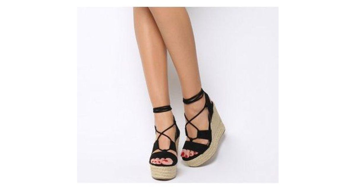 Womens Office Hula Hula Ghillie Espadrille Wedges Gold Heels