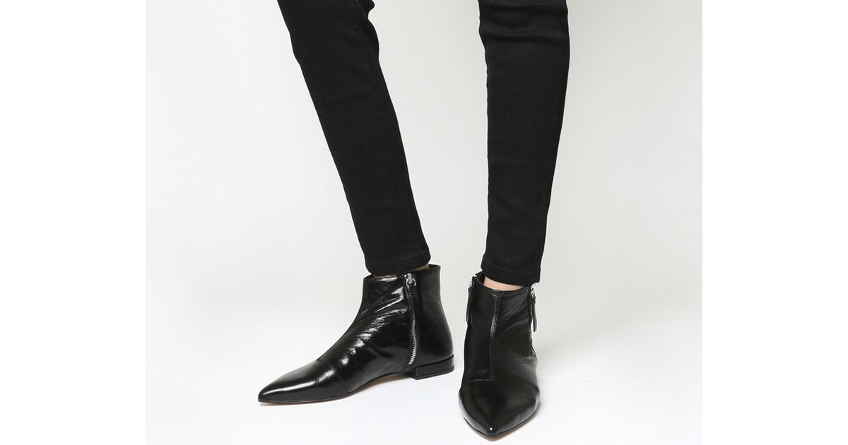 Arrow Flat Pointed Ankle Boots in Black