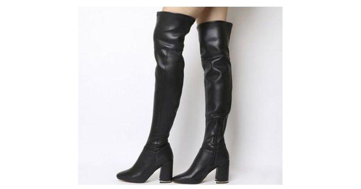 ade29c2b9e Office Katch- Block Heel Over The Knee Boot in Black - Lyst
