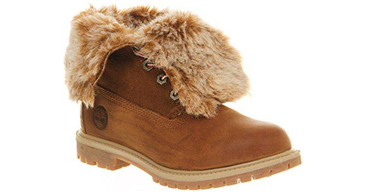 95f560adbaf Timberland - Brown Fur Fold Down Boots - Lyst