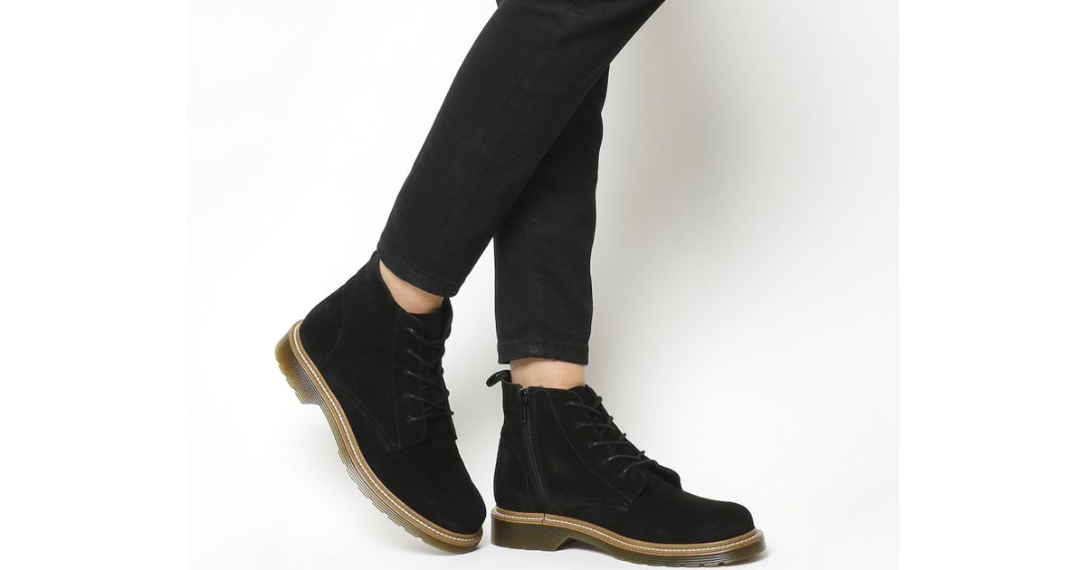 Womens Office Audio Lace Up Cleated Boots BLACK LEATHER Boots