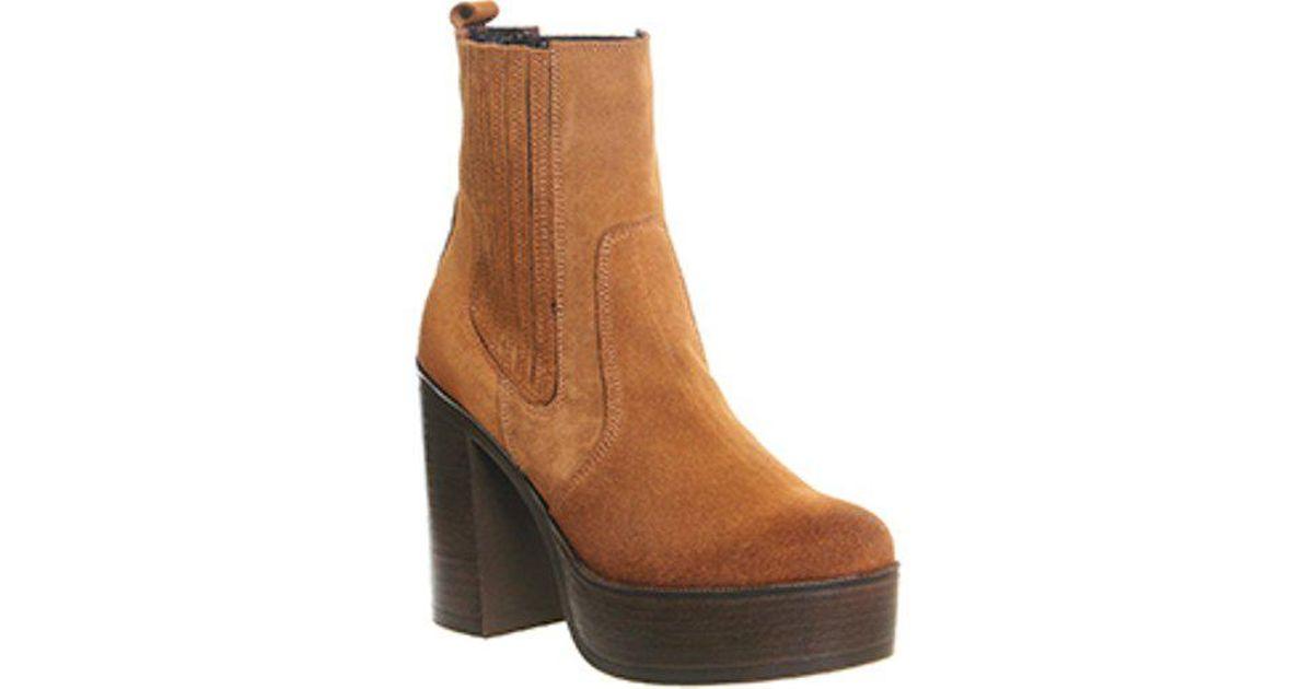 Indigo Platform Ankle Boots In Tan