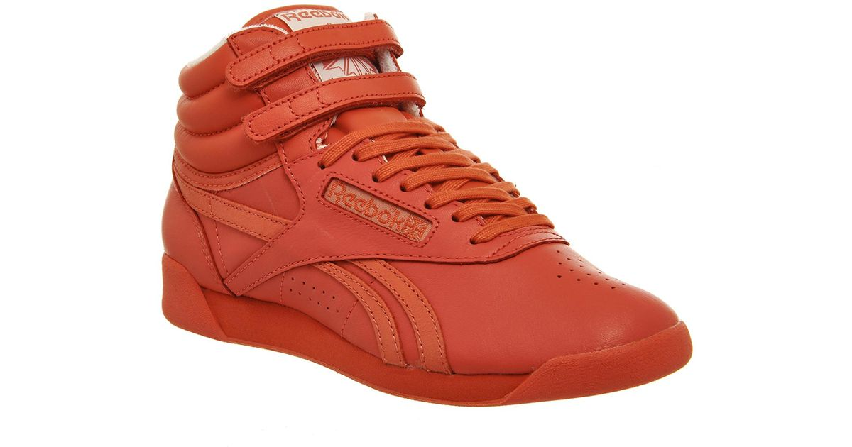 636398543d16 Lyst - Reebok Freestyle Hi in Red