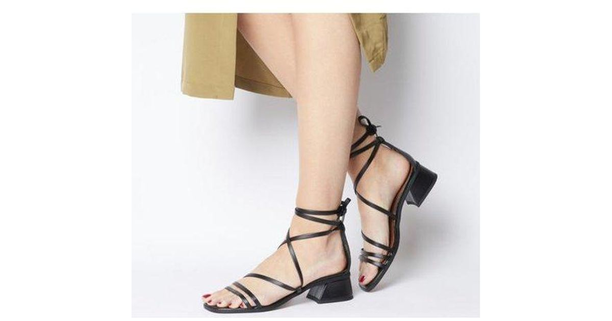 Womens Office Mocktail Strappy Feature Heel Sandals Black Leather Heels