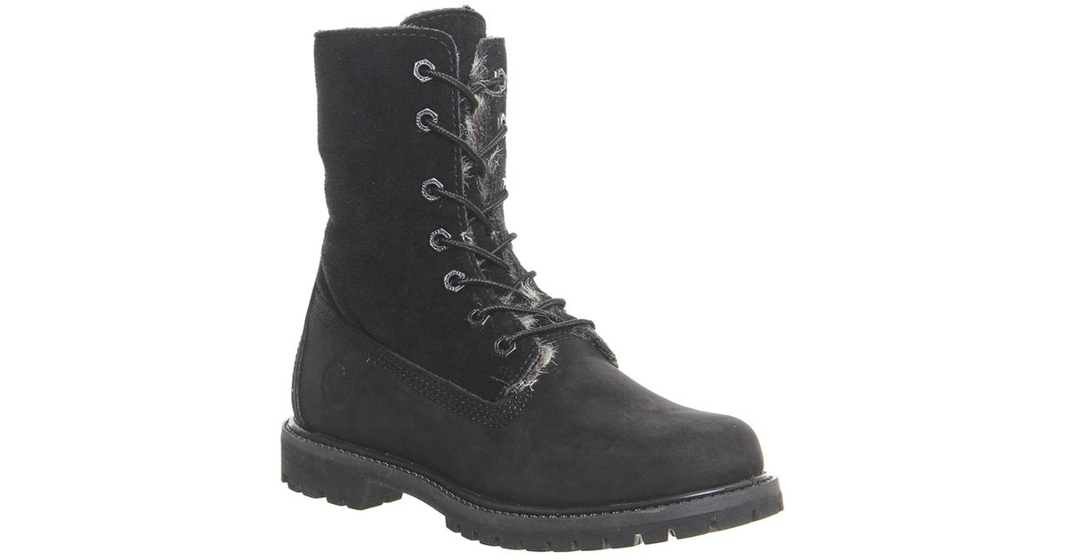 Timberland Fur Fold Down Boots in Black - Lyst c85ce015a