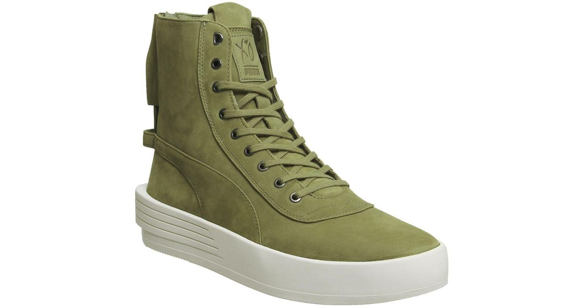 PUMA Leather Xo Parallel in Green Olive